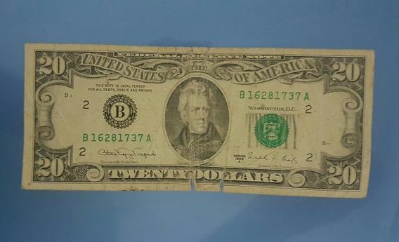 Cedula Nota De 20 Dolares Americanos Antiga
