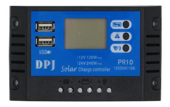 Controlador De Carga 10a Painel Solar 12v/24v Pwm Com Usb