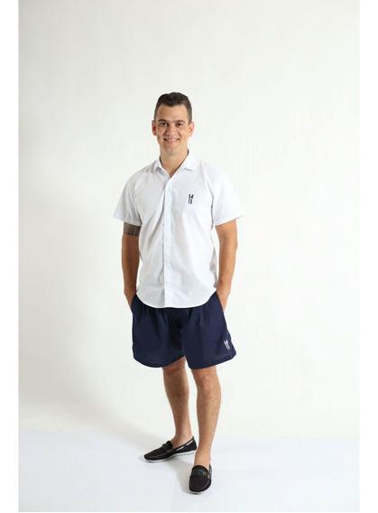 Camisa Social Manga Curta Branca Adulta