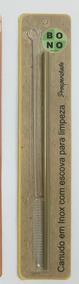 Canudo Dourado Em Inox Com Escova 20cm