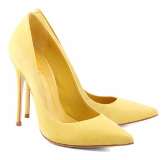 Scarpin Amarelo 38 Schutz Camurça Salto Alto Bico Fino