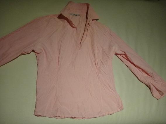 Camisa Tela Arrugada Mangas 3/4 Color Rosado (quilmes)