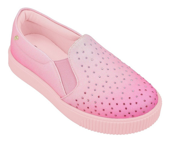 Tenis Pampili Rosa Glace Com Strass