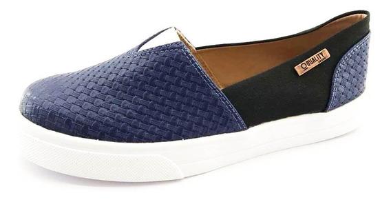 Tênis Slip On Quality Shoes Feminino 002 Trissiê Azul Marinh