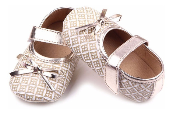 Sapato De Bebê - Dourado - Tamanho 18 - De 6 À 9 Meses(12cm)