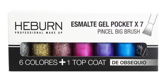 Heburn Set X7 Esmalte Gel Pocket 03 Color Uñas Manicuría