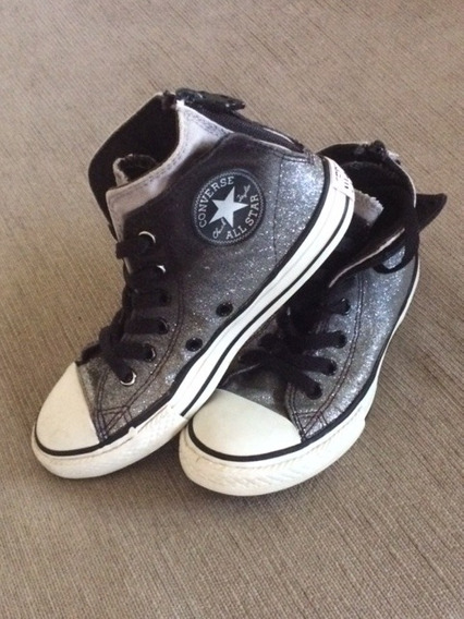 Zapatillas Grises Brillos Converse All Star Talle 31