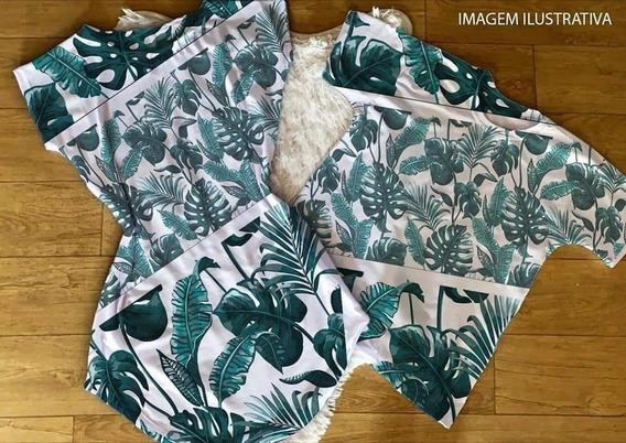 Kit Casal Vestido+camiseta Floral Verde