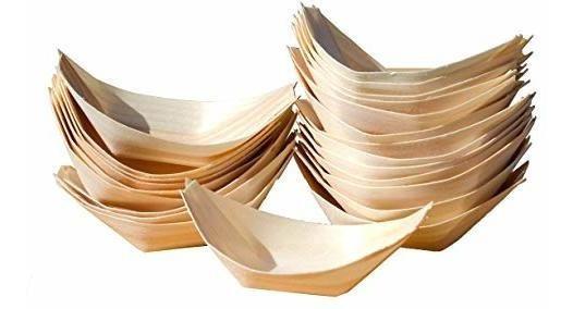 Bandejas De Bambú | Barquito | Ideal Para Sushi X 10 Uni