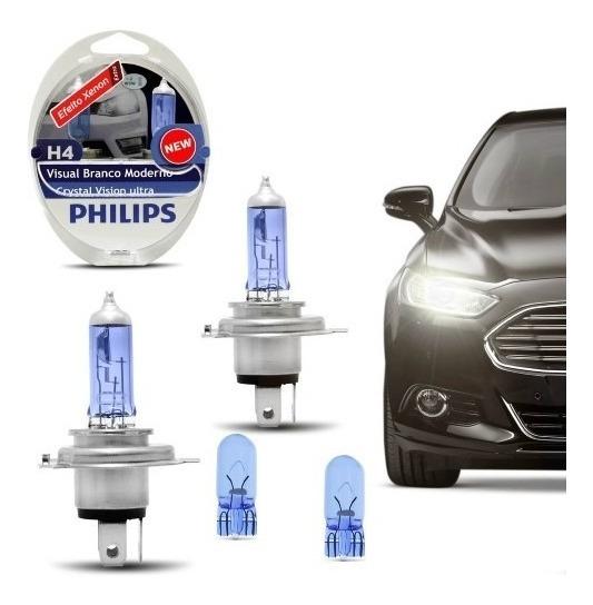 Lâmpada Philips H4 Crystal Vision Ultra Efeito Xenon + Pingo