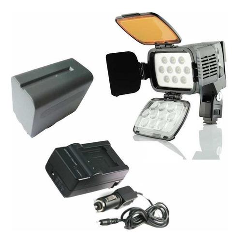 Imagem 1 de 8 de Kit Led-vl001a + Bateria  Np-970 + Carregador C/ Nota Fiscal