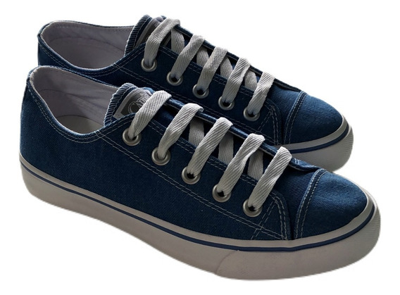 Tênis Básico Feminino Capricho Cano Curto Azul Jeans