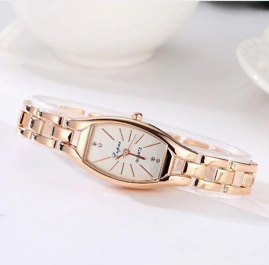 Relógio Feminino Retangular Pequeno Delicado Lindo Rosé