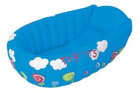 Banheira Berço Inflável Bebê Indicador Temperatura Mor Azul