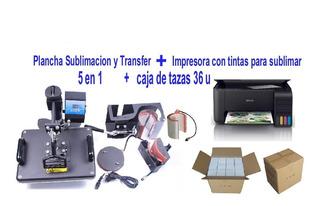 Plancha 5 En 1 Sublimar + Impresora + Caja Tazas Unlimited