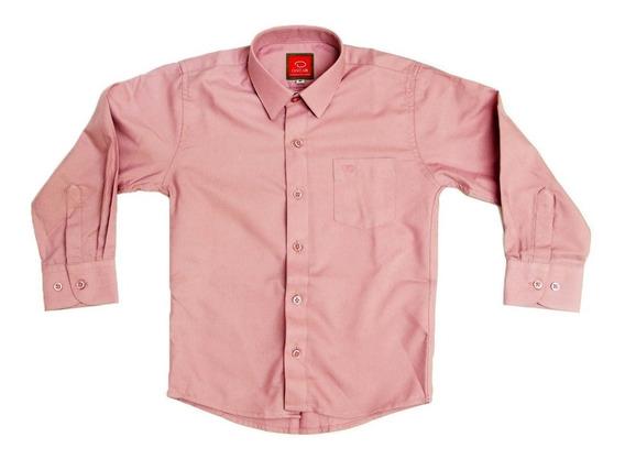 Camisa De Vestir Marca Oscar Manga Larga Lisa Rosa Viejo