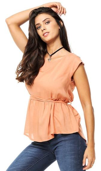 Blusa Camisola Mujer De Fibrana Lisa Con Lazo En Cintura