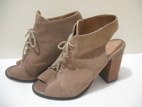 781cc2b6db Sandalia Ankle Boot Couro Satinato Marrom 37 Usado Bom Estad