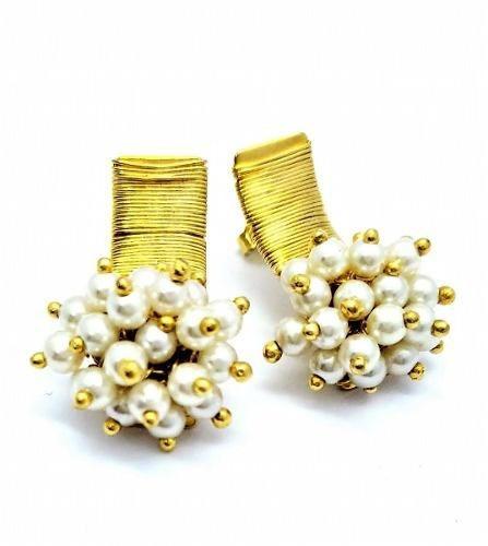 Brincos Pérolas Bouquet Banho De Ouro 18k 1615