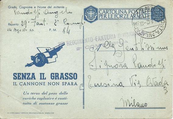Carta Postal Militar /italia/ Segunda Guerra Mundial/ 1942