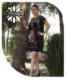76d92f8c40 Vestido Artesanal Mexicano Tehuacán Bordado Dama Tradicional