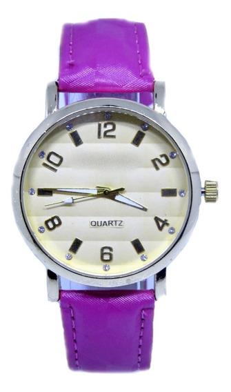 Relógio Feminino Strass Couro Confortável Coloridos + Brinde