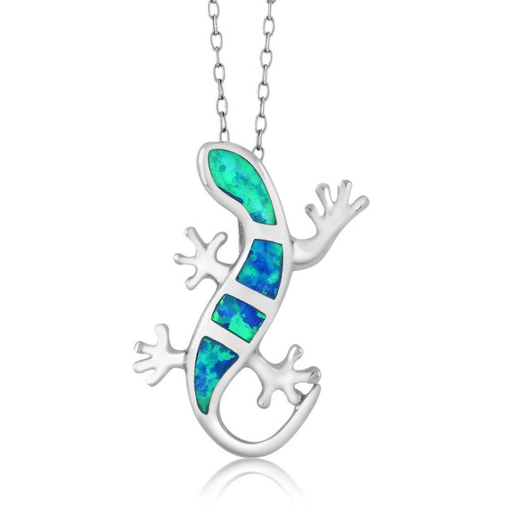 Lizard Con Cristales Azules En Plata Esterlin 925 Cadena 18