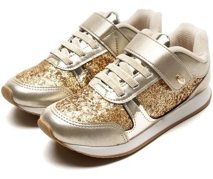 Tênis Walk Klin Gliter Dourado