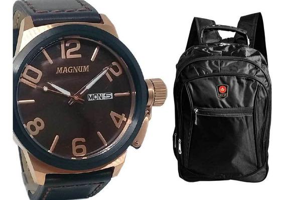Relógio Magnum Masculino Gde Militar Ma33399z+mochila Preta