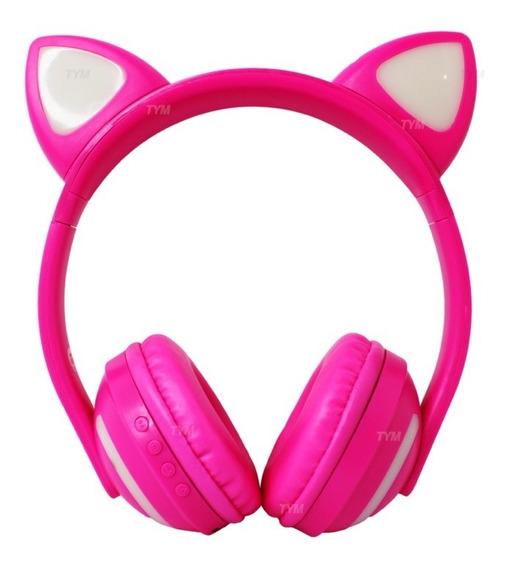 Headphone Com Bluetooth - Gatinho Com Led Colorido 7 Cores