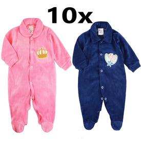 10x Macacão Roupa Bebê Plush Kit Atacado Frete Grátis 10un