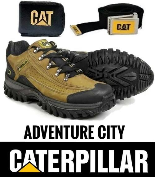 Tenis Couro Caterpillar Adventure Promoçã Kit Carteiracinto