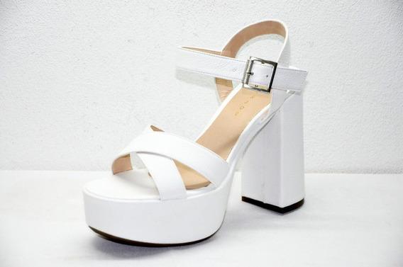 Sandalia Mujer Blanco Plataforma Hebilla Tiras Moda Mary Joe