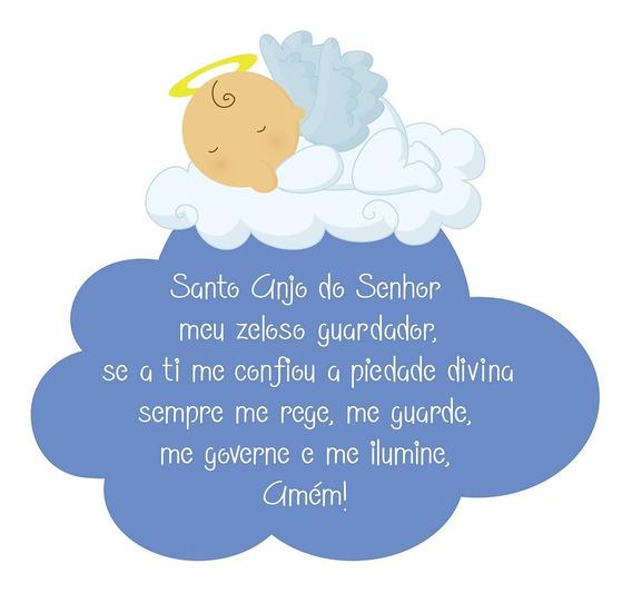 Quadro Oração Santo Anjo Bebê Menino Religioso Criança Mdf