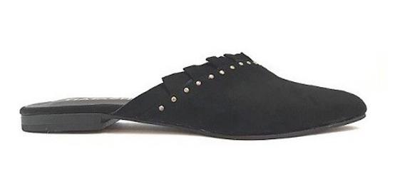 Zapato Mujer Zueco Natacha Con Volados Gamuza Negro #128