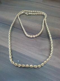 Cordão Corrente Masculina Trançada Banhada A Ouro 63cm