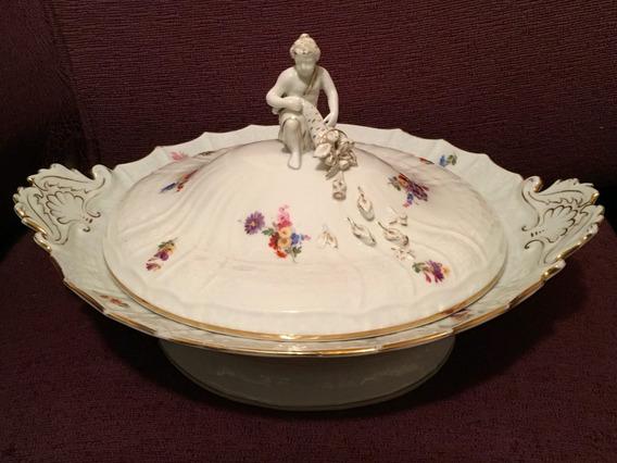 Gran Guisera Porcelana Alemana Meissen 33cm Ancho 16cm Alto
