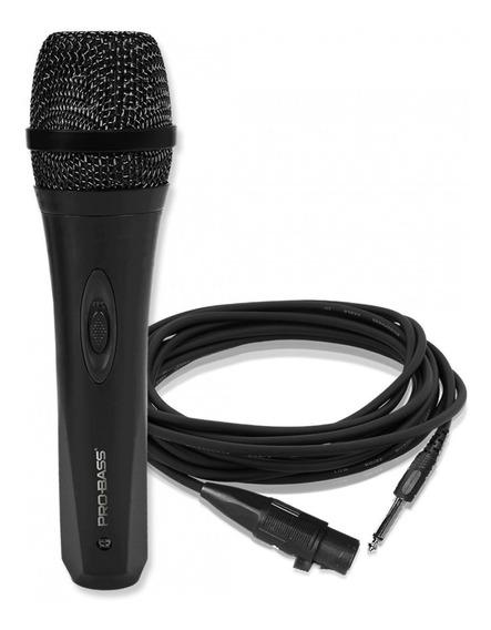 Microfone De Mão Com Fio Pro Bass Pro Mic 500 Dinamico Nfe