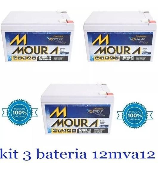 Kit 3 Baterias Moura 12ah 12v Bike Elétrica/ No Break/ Alar