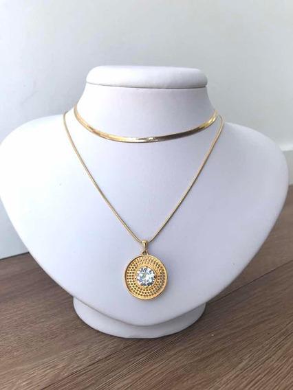 Colar Mandala Banahado A Ouro Zirconias