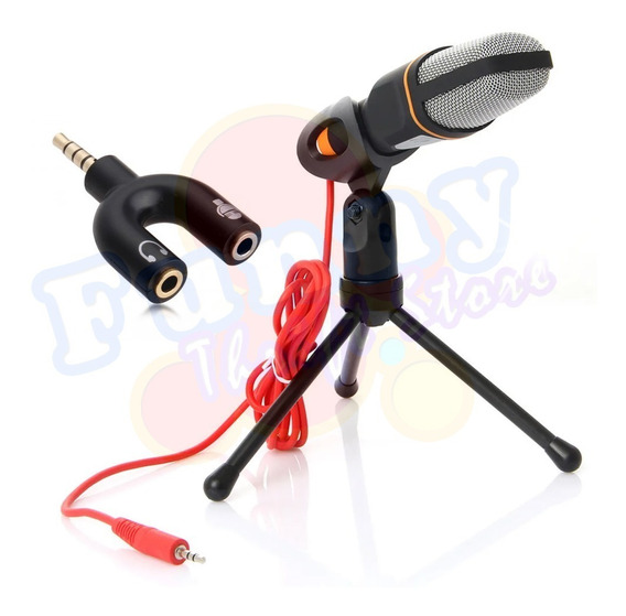 Microfone Condensador Gravação Com Adaptador P3 (p2 Combo)