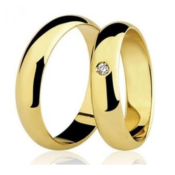 Par De Alianças Com Diamante 10,9g 5mm
