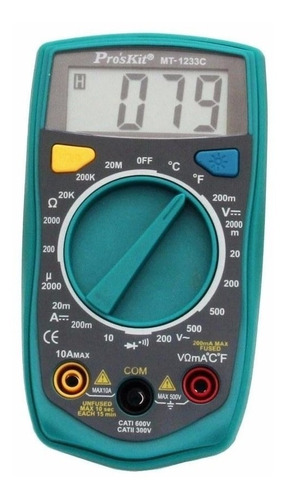 Multimetro Digital Proskit Mt-1233c Tester Luz Temperatura