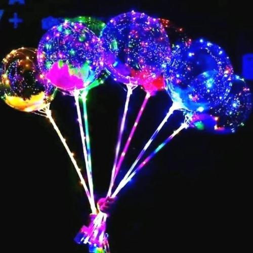 Globos Luminosos Led Cotillón Burbuja Cristal 60cm X5 Unidad