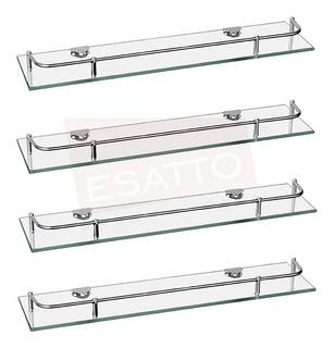 Esatto® Paquete De 4 Repisas Vidrio Con Soportes Ac-027