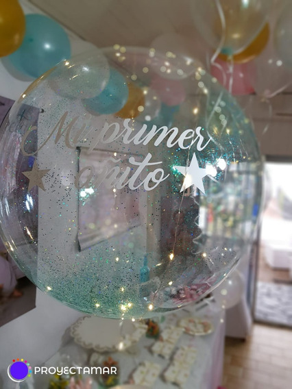 Burbuja Gigante Cristal Con Personalizada Con Helio Y Pesita