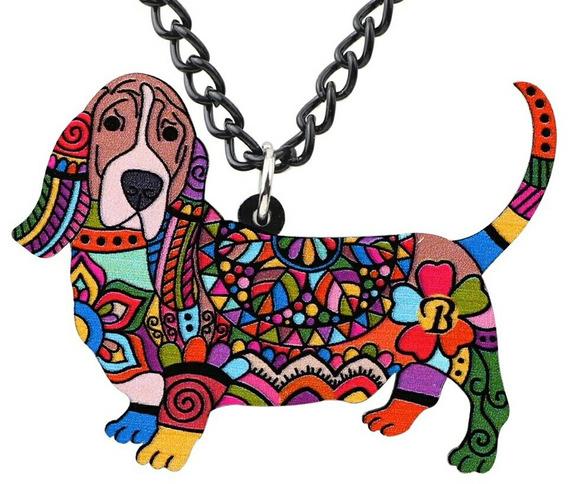 Colar De Acrilico Dog Colorido