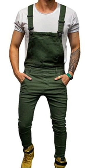 Macacão Jeans Destroyed Super Skinny Verde Militar Masculino