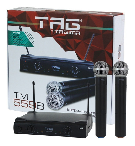 Microfone Sem Fio Duplo Preto Tag Sound Uhf Tagima Barato