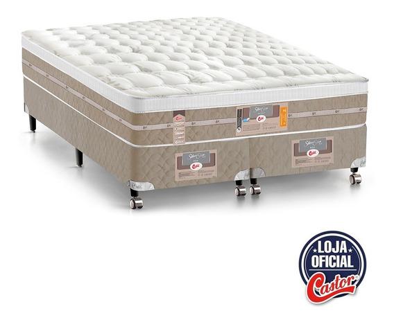 Cama Box+colchão Castor Queen Pocket Silver Air One 158x198